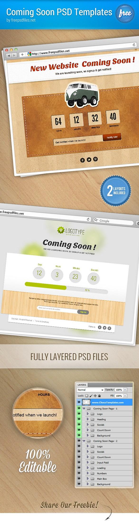 Дизайн страницы Сайт в разработке в 2-х вариантах 1