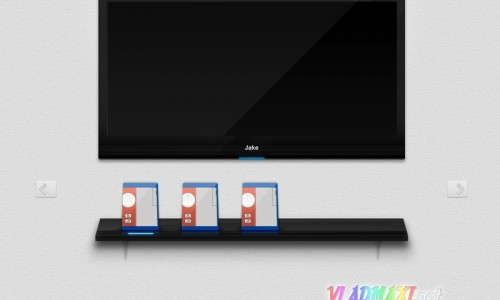 креативный psd слайдер в виде монитора и 3D полки