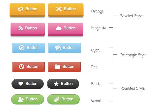 красивые css кнопки, 3 стиля