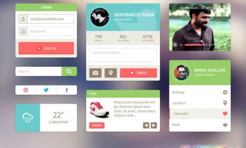 psd исходник с элементами дизайна, интерфейса для сайта