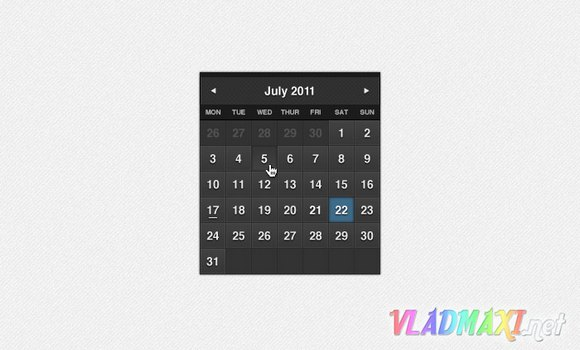 psd исходник календаря в темном стиле