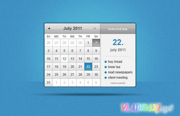 календарь psd с дополнительными заметками на каждый день