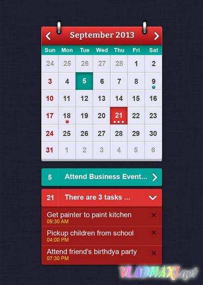 яркий и высококонтрастный  календарь для фотошопа (в формате psd)