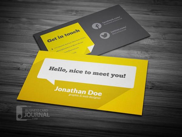 желтая визитка с плоским дизайном