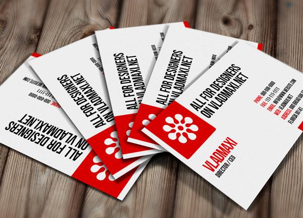 визитная карточка в красном стиле, мокап